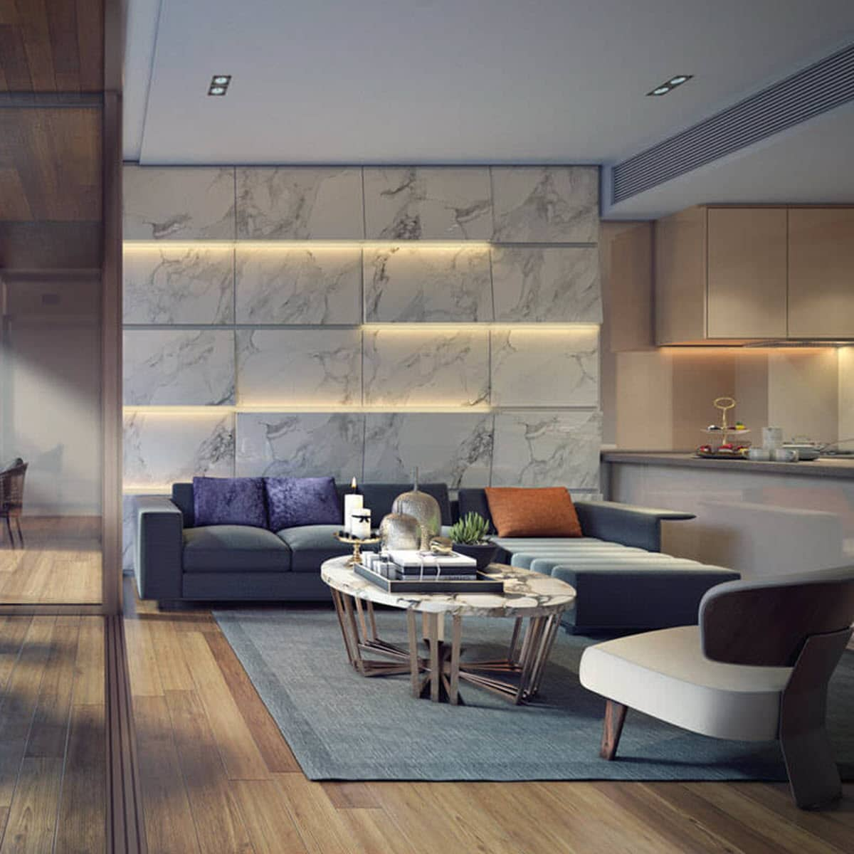 Stone Living Room Feature Wall